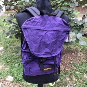 PURPLE AND BLACK EASTPAK BUCKLE UP HIKING BACKPACK